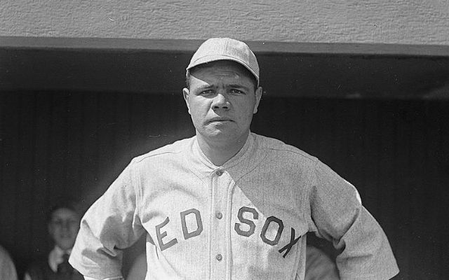 Babe Ruth in Black and White in Red Sox Baseball Uniform